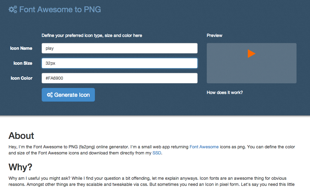 Font Awesome to png online generator